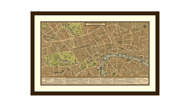 Hand Drawn Grand Map of London on Canvas