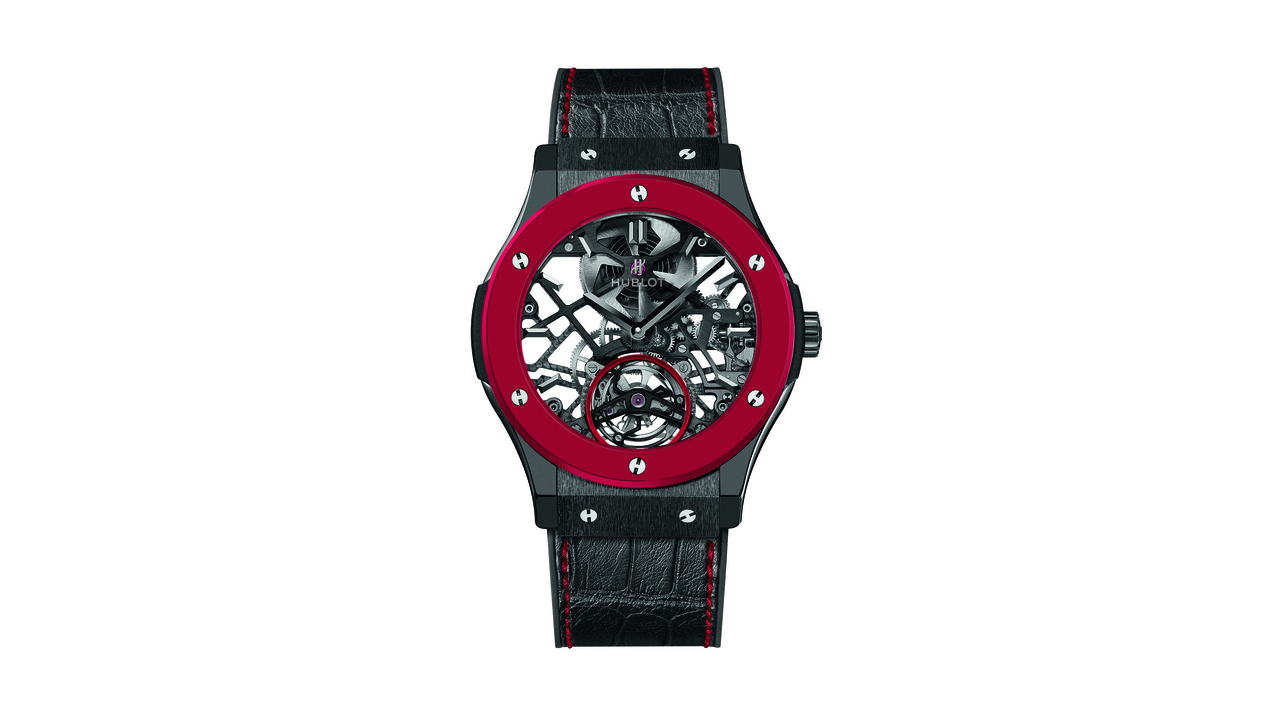 The Red'n'Black Skeleton Tourbillon Watch by Hublot