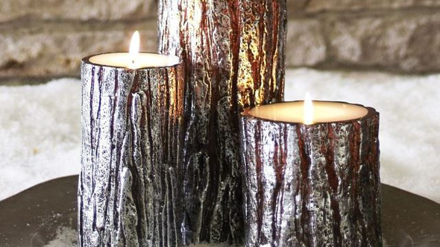 Metallic Bark Pillar Candles