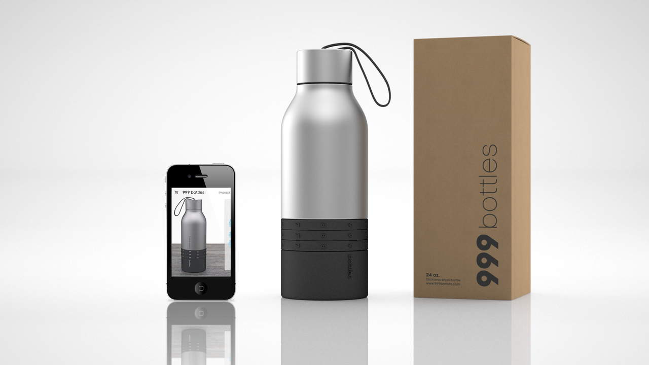 999bottles Reusable Water Bottle Concept with App