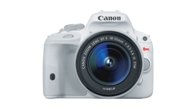 White Canon EOS Rebel SL1 Digital SLR Camera