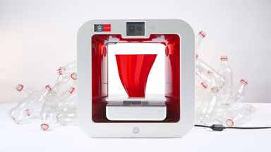 Ekocycle Cube 3D Printer that Runs on Recycled Bottles