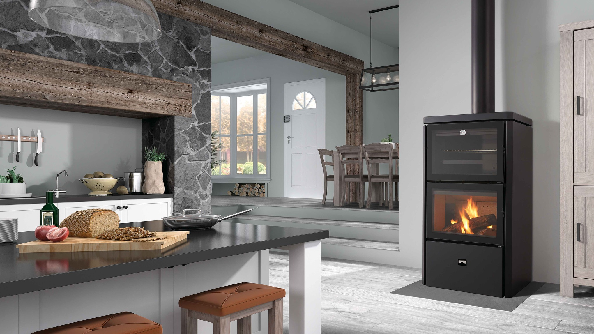 Hebar Wood Burning Stove with Oven and Barbecue