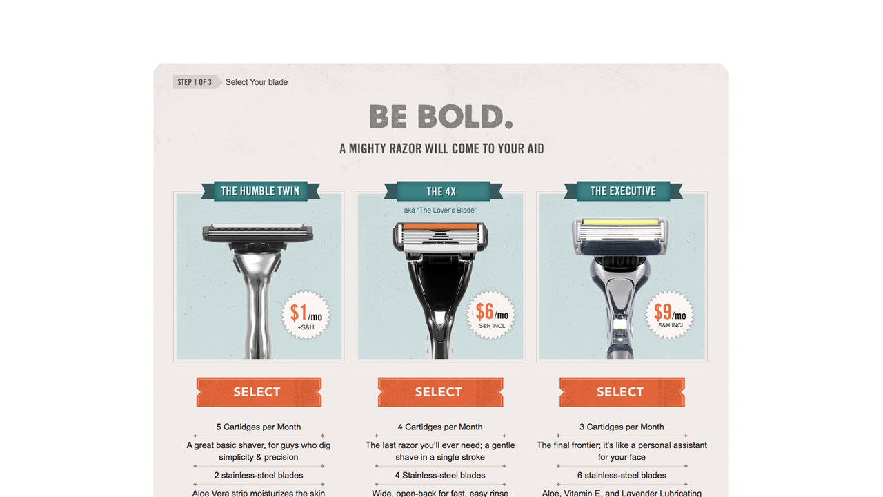 Razor Subscription Service at DollarShaveClub.com